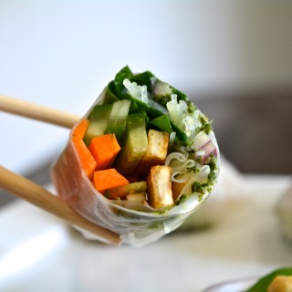 Vietnamese Rice Paper Roll with a Minty Pineapple in-roll Sauce