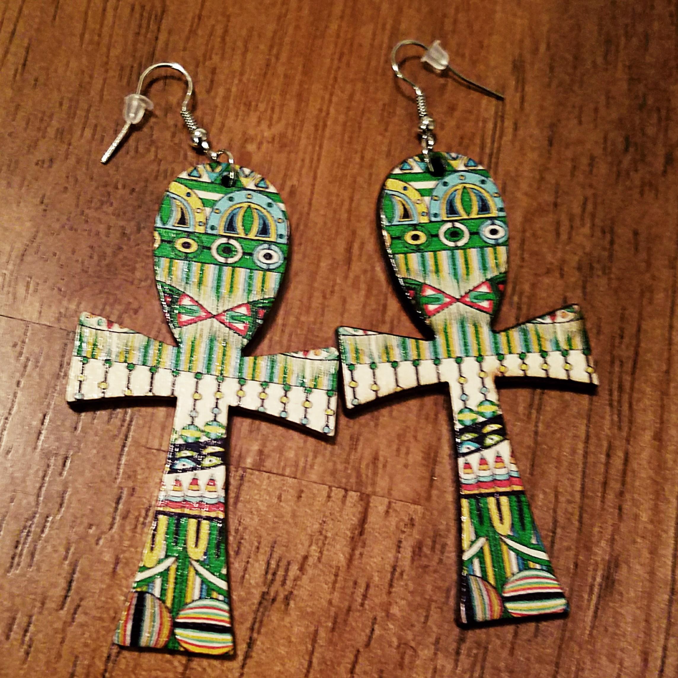 African Ankh Cross Earrings