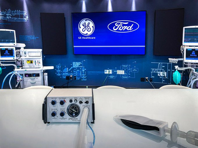 Ford produces 50,000 artificial respirators in cooperation with GE Healthcare to assist people livin EUf-3wAXsAAUe7T
