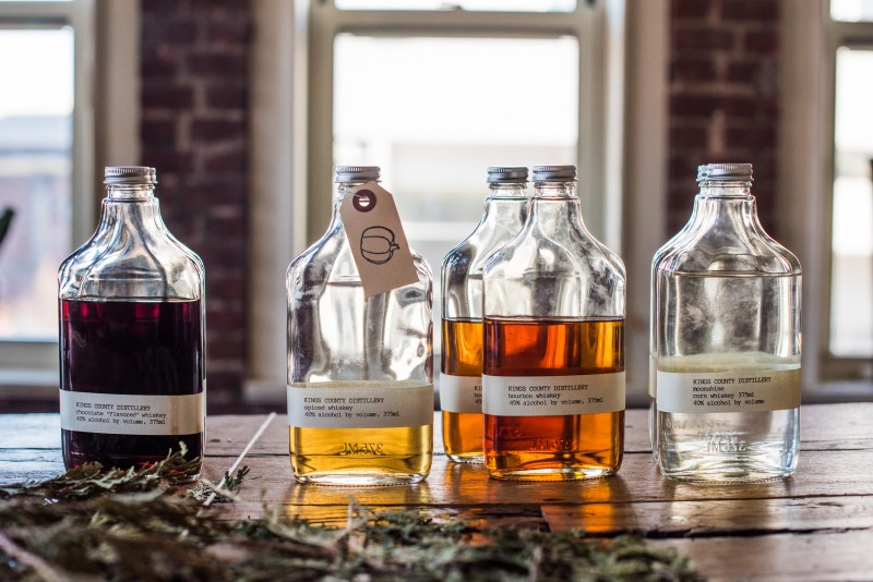Kings County Distillery Range. From left to right - Chocolate whiskey; Spiced whiskey, Bourbon whiskey & Moonshine