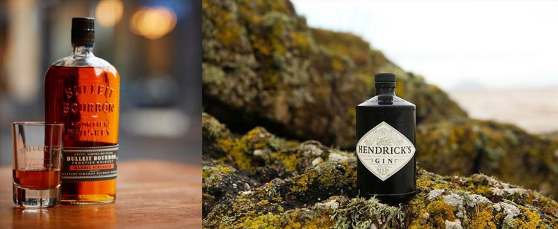 Left to right - Bulleit Barrel Strength Bourbon; Hendricks Gin