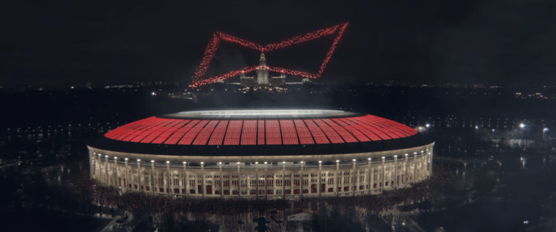 Budweiser logo formed of drones over football stadium