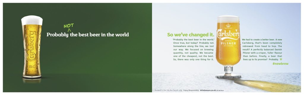 Image of Carlsberg billboard proclaiming its probably not the best beer in the world