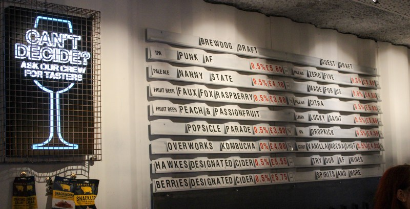 Range of beers at the BrewDog Alcohol Free bar in Shoreditch, East London