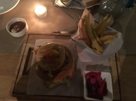 Dinner at Fusion 9. Lamb burger with a side of fries and pickled veggies.