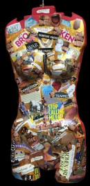 """""""Diamonds on the Inside"""" Body Sculpture Collage Approx. 30"""" x 18"""" Collage and found objects"""