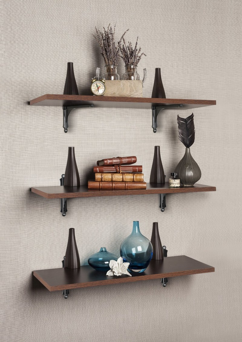 Brown wood shelve