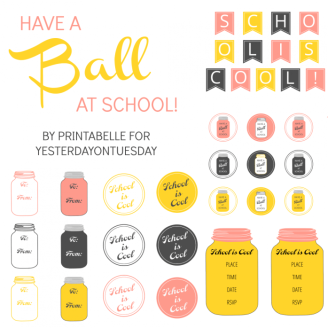 Mason Jar School Printables via Mandy's Party Printables