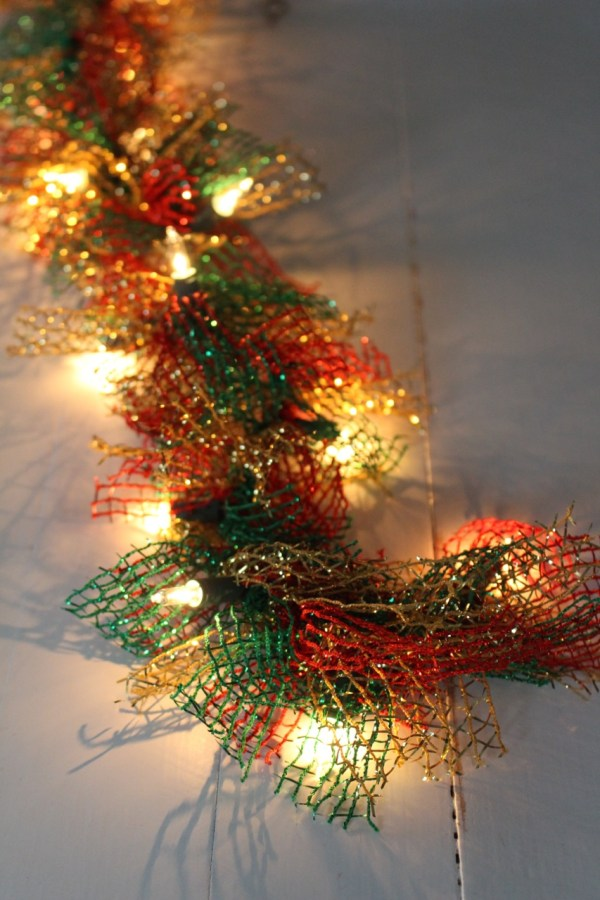 Ribbon Christmas Garland with Lights