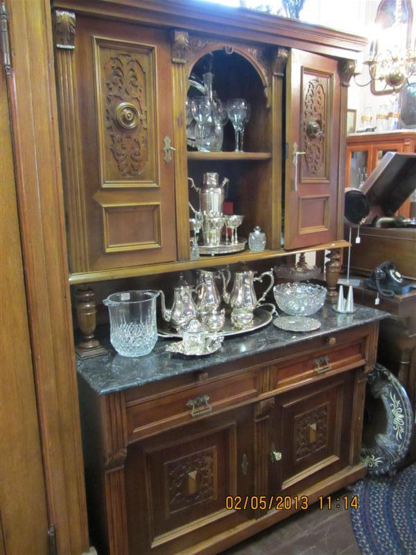 kitchen buffet with hutch drop in sink 1800's german walnut breakfront | yesterday's treasures