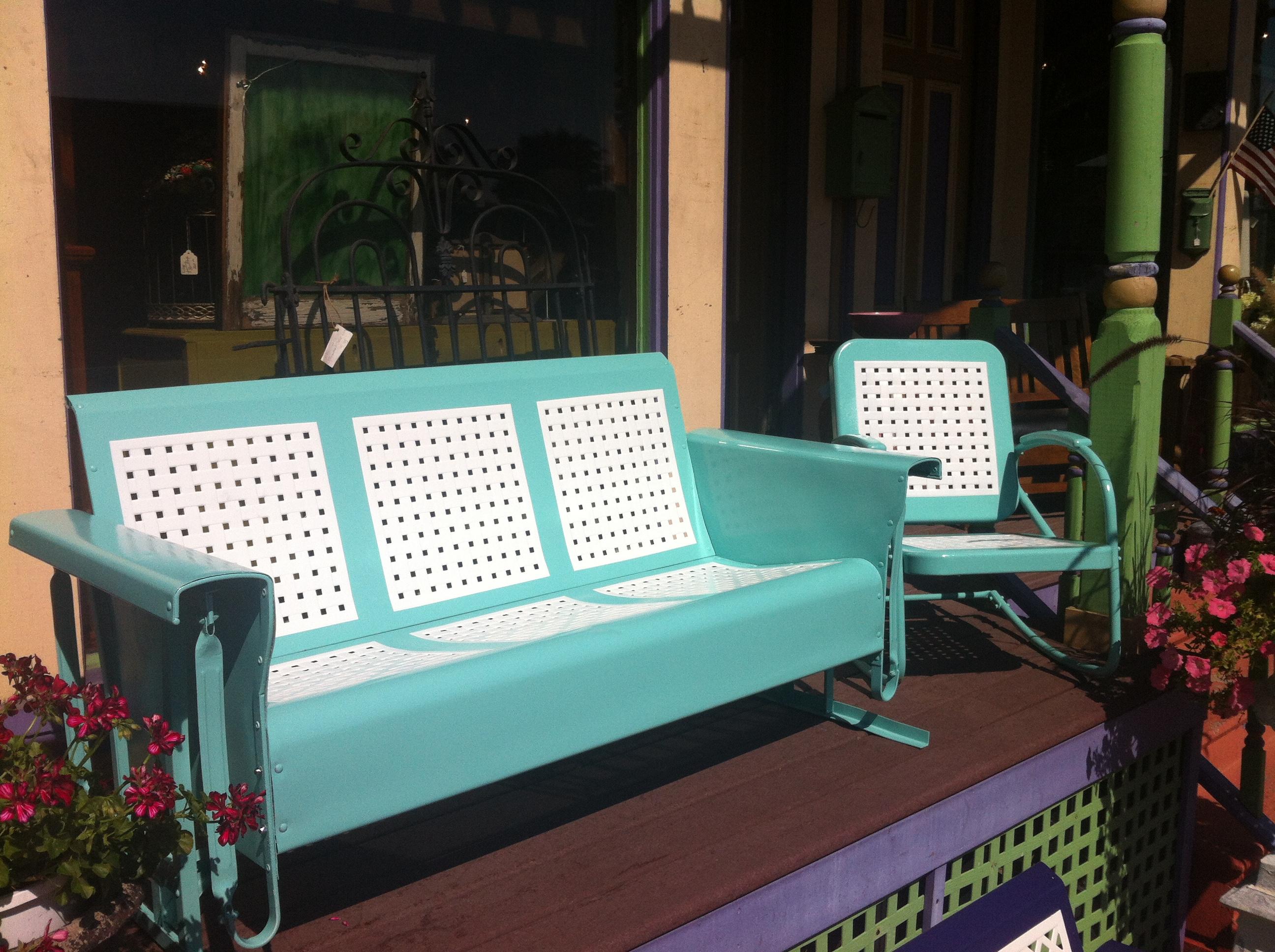 Restored Vintage Glider  Chair BasketWeave Cool Blue