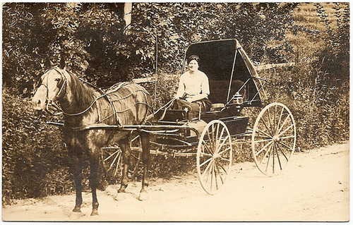 Woman with Horse and Buggy 1918