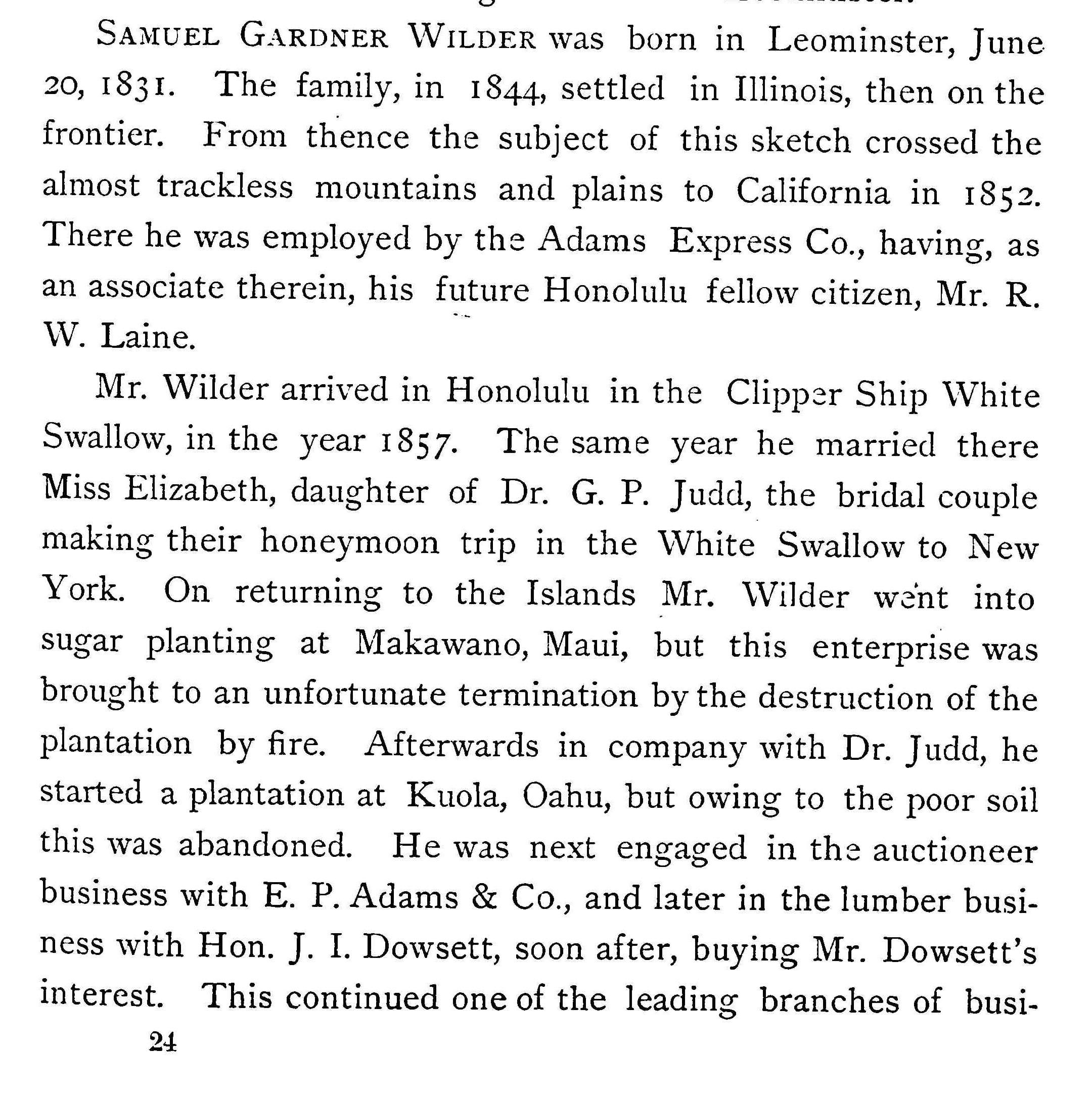 Samuel G. Wilder Biography