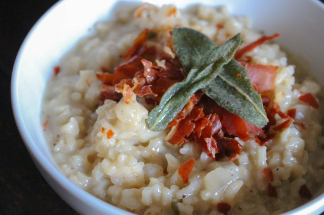 Pear Risotto with Crispy Prosciutto & Fried Sage | Yes to Yolks