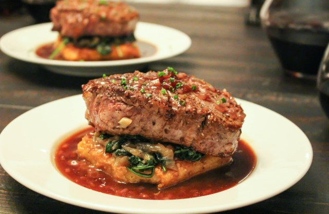 Steaks with Crispy Polenta, Caramelized Onions & Kale, & Balsamic-Cherry Sauce | Yes to Yolks