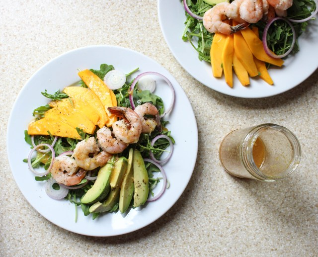 Tropical Shrimp Salad with Avocado, Mango, & Wasabi-Ginger Dressing | Yes to Yolks