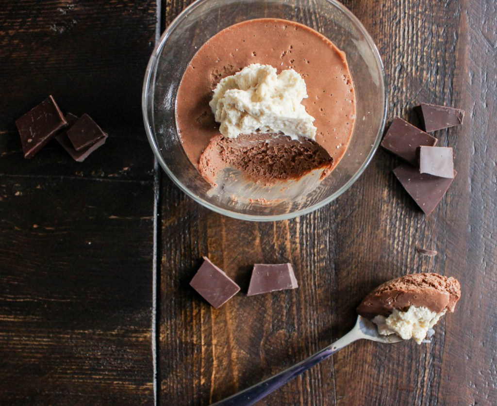 Sea Salted Dark Chocolate Pot de Crème with Peanut Butter Whipped Cream | Yes to Yolks