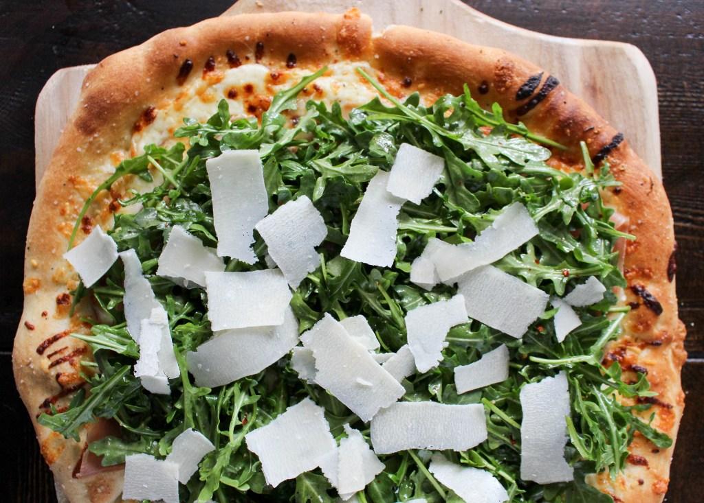 Fontina & Prosciutto Pizza with Lemony Arugula Salad | Yes to Yolks