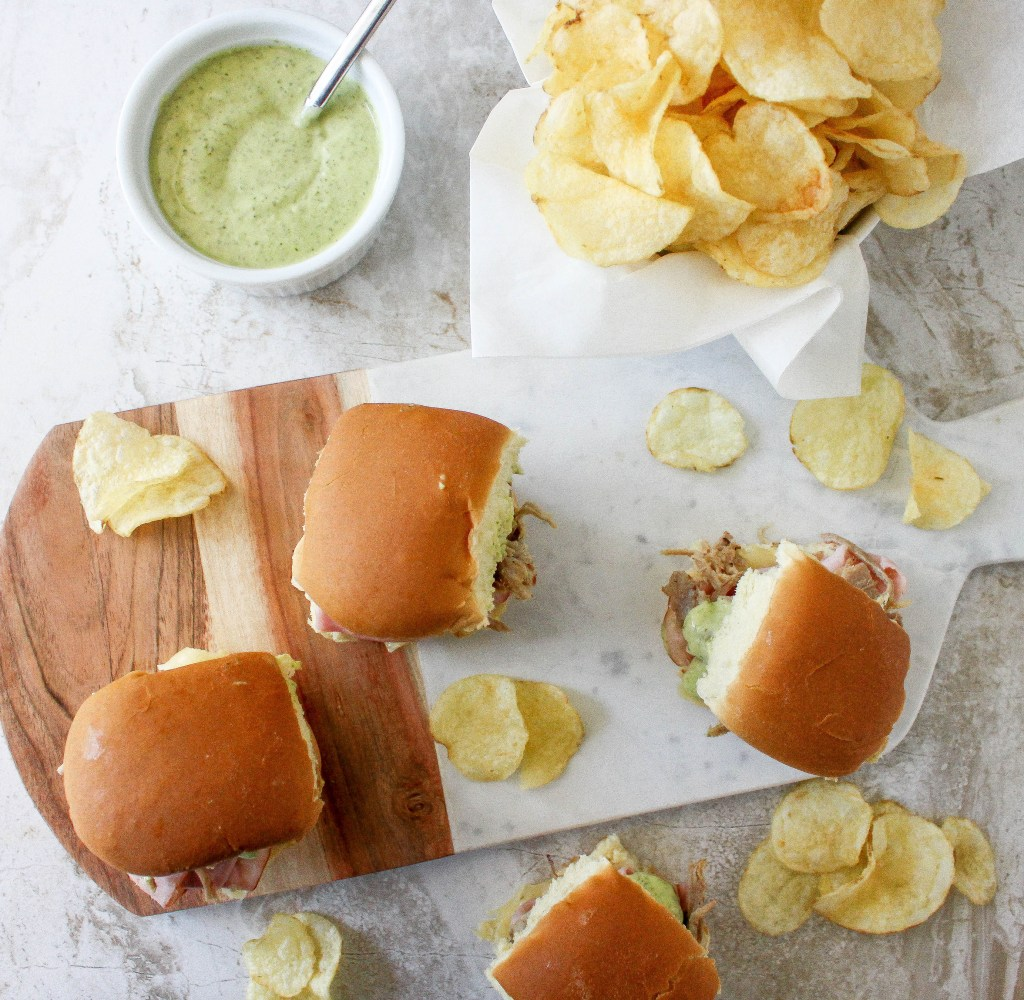Cuban Sliders with Mojo Pork & Cilantro Mayo