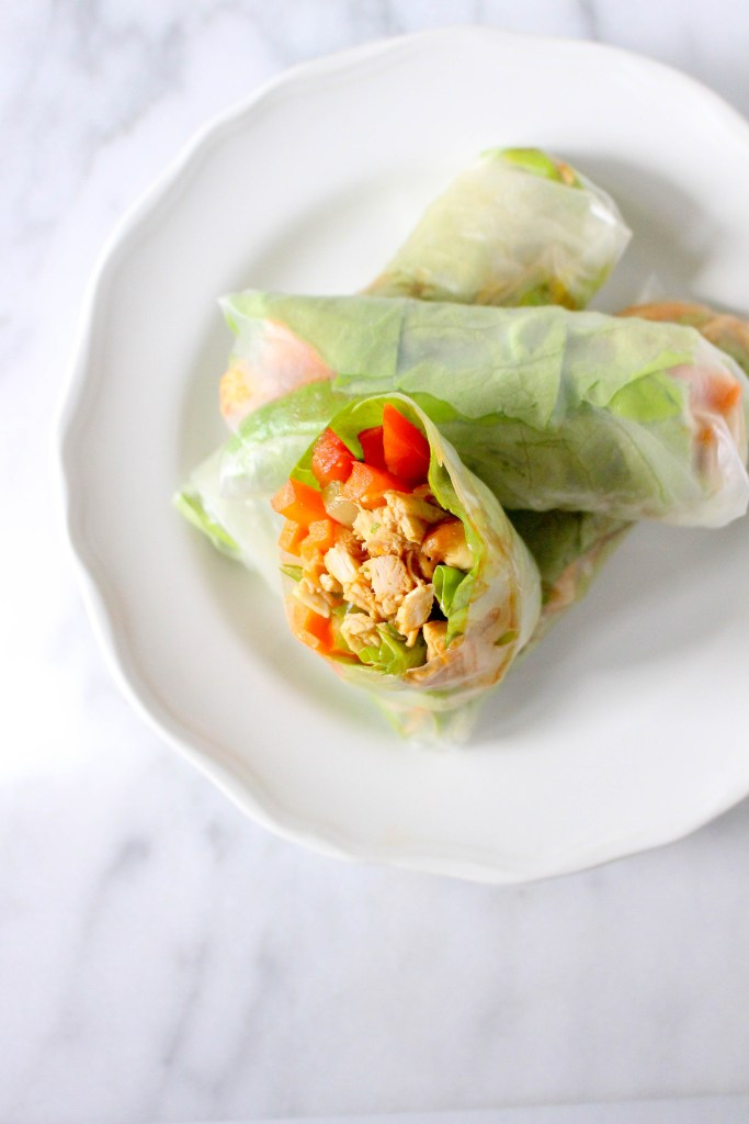 Buffalo Chicken Summer Rolls - a lighter twist on the classic flavors we all know and love! | yestoyolks.com