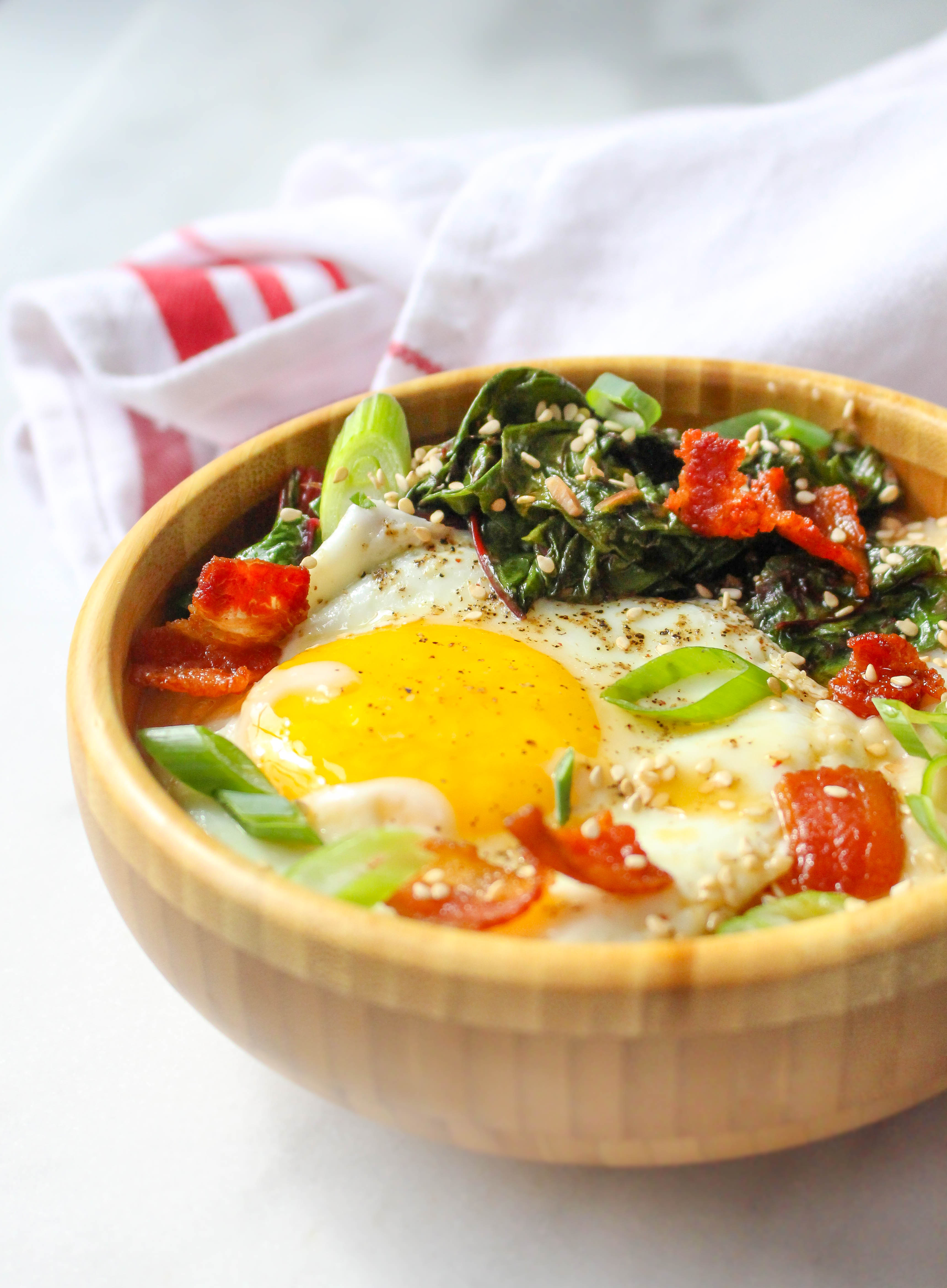 Savory Cheddar Oatmeal with Bacon, Garlicky Greens, & Eggs
