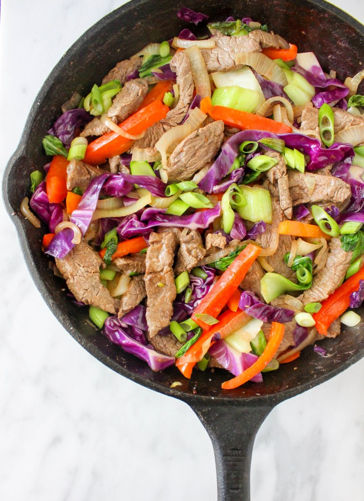 Spicy Coconut Beef & Bok Choy Stir Fry | yestoyolks.com