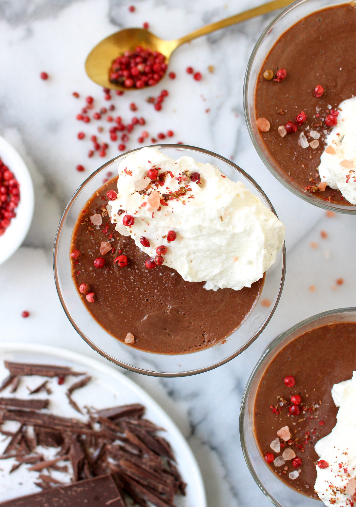 Chocolate Pots de Creme with Pink Peppercorns & Himalayan Sea Salt