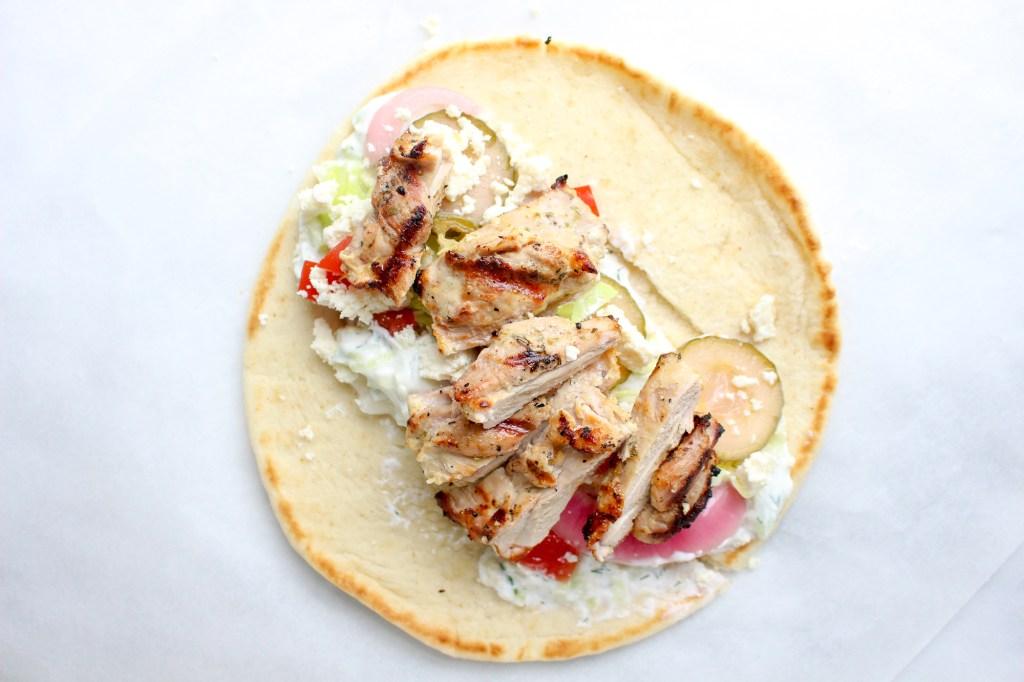 Greek Chicken Gyros with Tzatziki & Pickled Vegetables | yestoyolks.com
