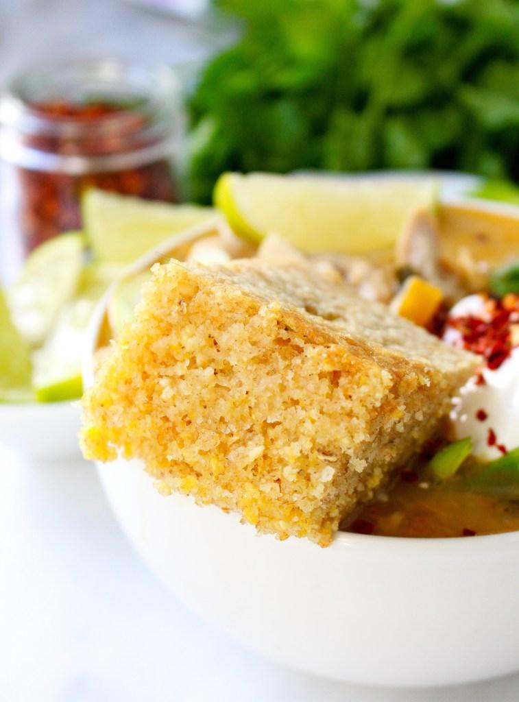 White Chicken Chili with Brown Butter Buttermilk Skillet Cornbread