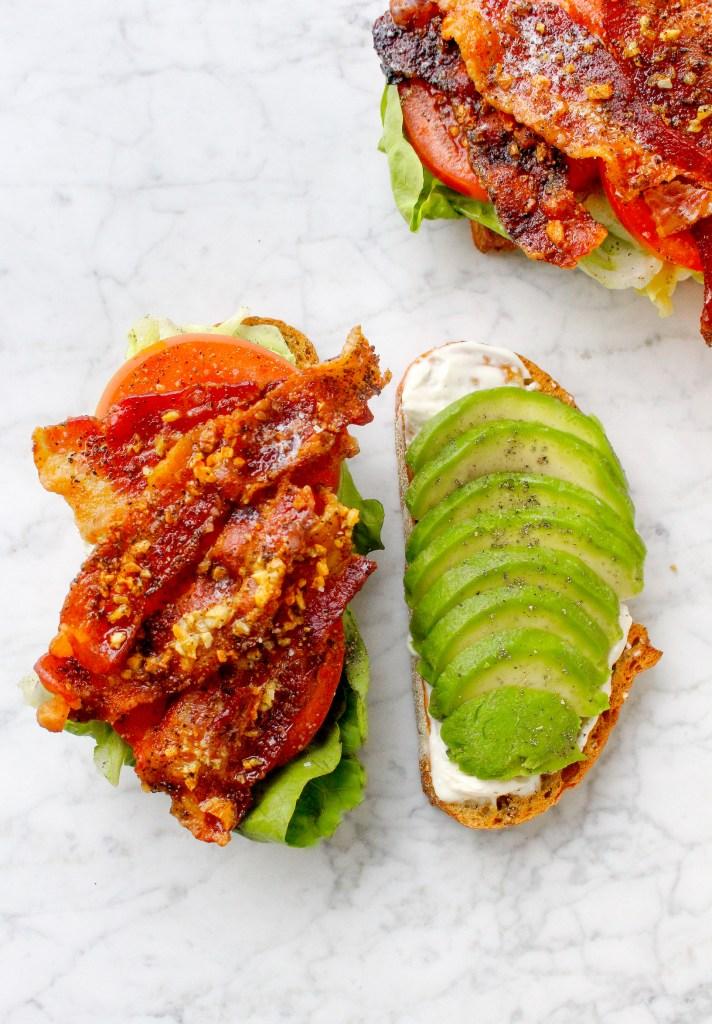 BLTs with Garlic Bacon, Avocado, & Lemon Mayo