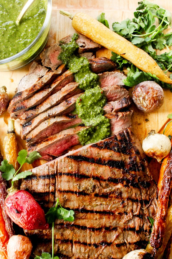 Cuban Flank Steak with Roasted Carrots & Chimichurri