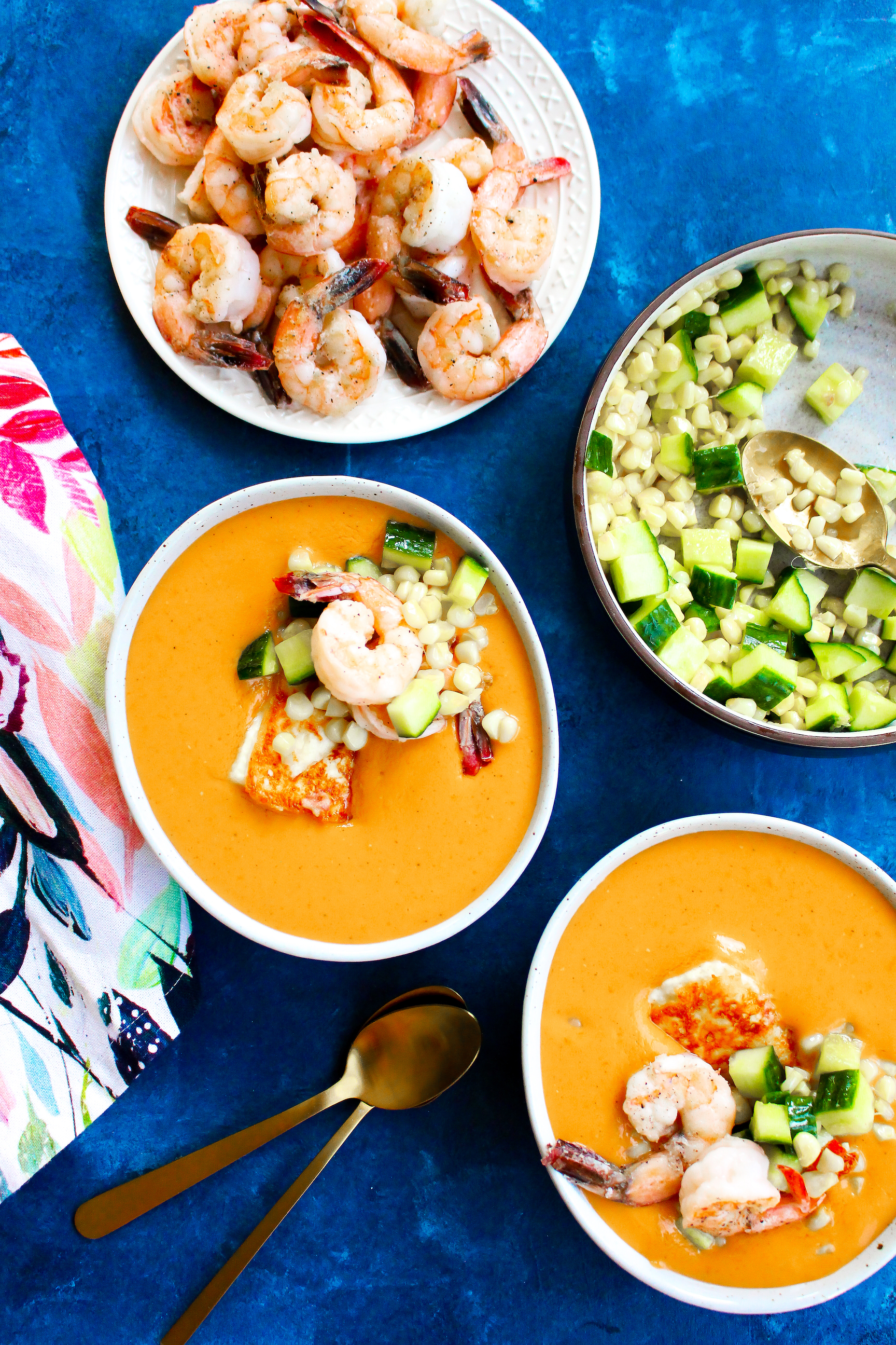 """Tomato Gazpacho with Corn, Shrimp, & Cheese """"Croutons"""""""