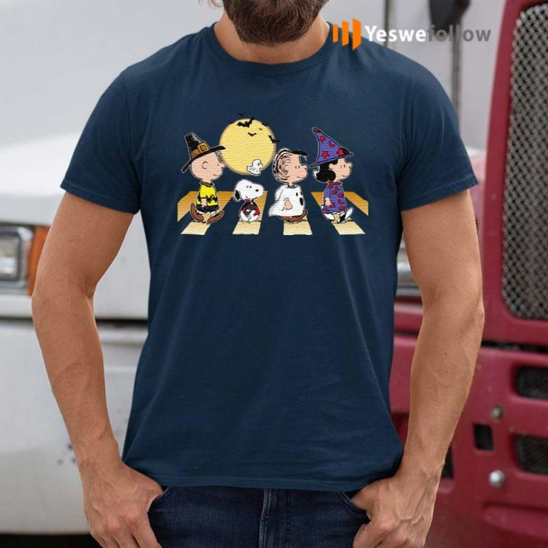 Charlie-Snoopy-Linus-Lucy-Halloween-Abbey-Road-Walk-T-Shirts