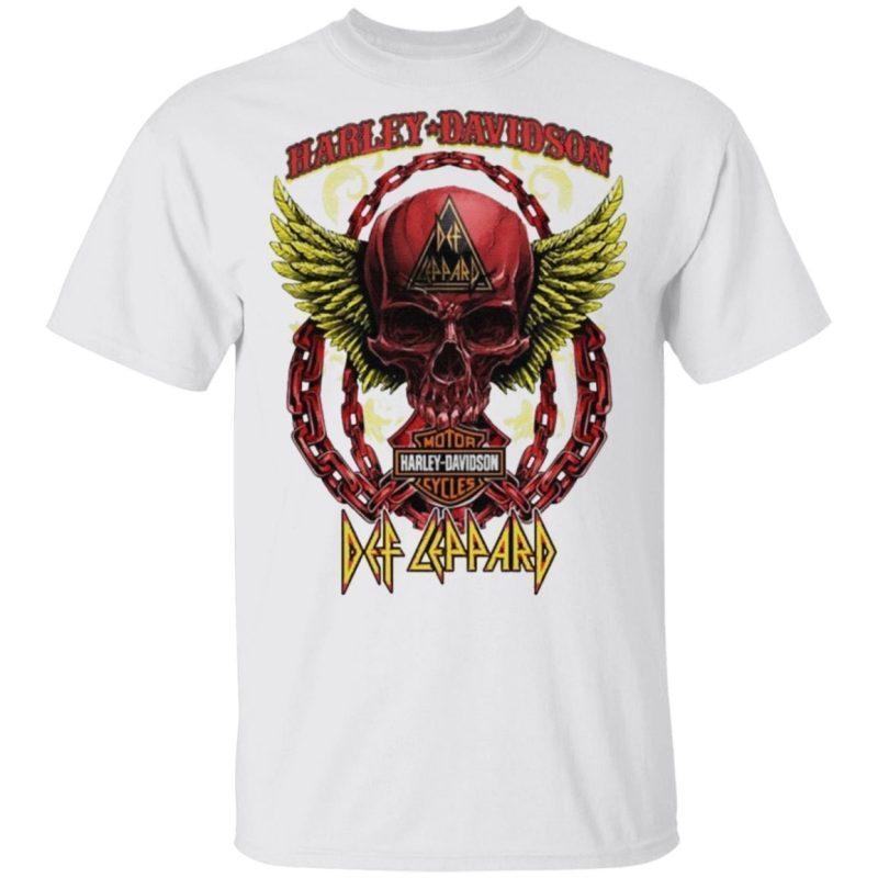 Skull Angel wings Harley Davidson and Def Leppard band T-Shirt