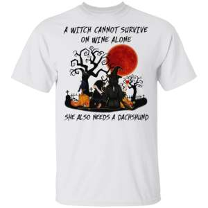 A Witch Cannot Survive On Wine Alone She Also Needs A Shih Tzu Halloween T-Shirt