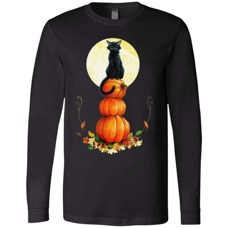 Full Moon Halloween Pumpkin Cat T-Shirt