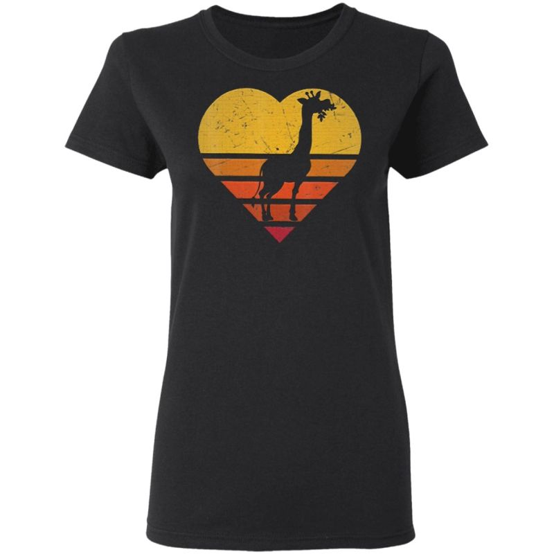 Vintage Giraffe Shirt Retro Color Love Shape Silho T-Shirt