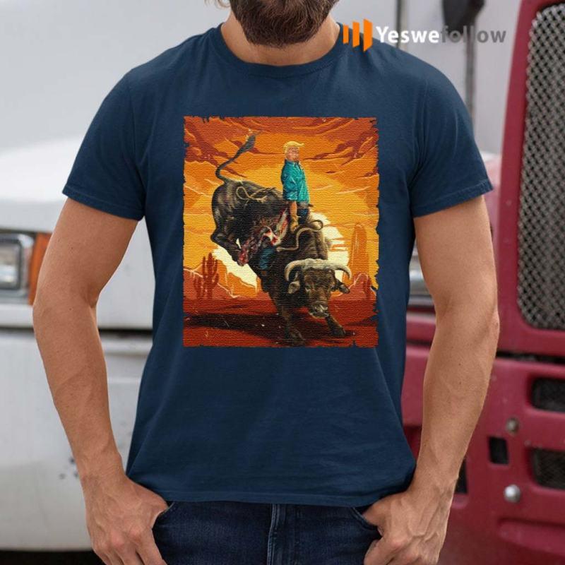 Trump-Rodeo-Bull-Rider-American-Flag-TShirt