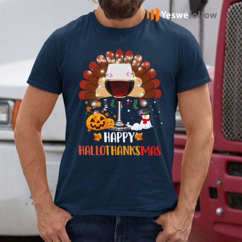 Wine-Turkey-Happy-Hallothanksmas-TShirts