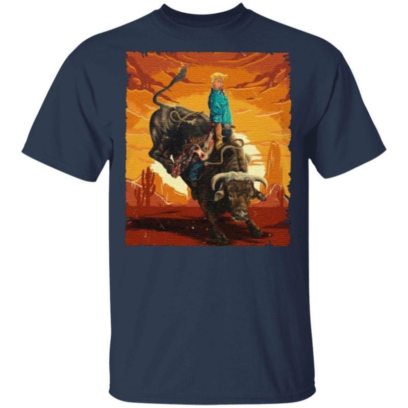 Trump Rodeo Bull Rider American Flag T Shirt