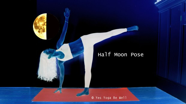 Ardha Chandrasana Half Moon Pose with Moon