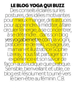 Article on Yes Yoga Be Well in Biba Mag top France Woman Magazine