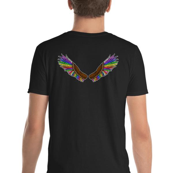 Rainbow Eagle T-shirt Wings on back Black