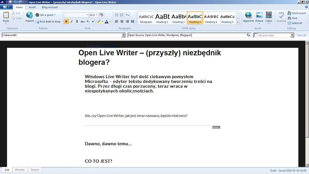Open Live Writer - (przyszły) niezbędnik blogera? - Yeti (nie tylko) o grach
