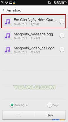 Cách cài đặt nhạc chuông điện thoại Oppo 4