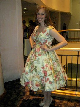 """""""Vintage Vogue"""" dress. The floral cotton sateen was originally intentioned as sofa covering."""