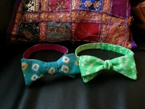 SariCycle bow ties for the guys! { A collaboration by the Asian Foundation for Philanthropy and My Wild Heart, designed by Yevette Willaert }