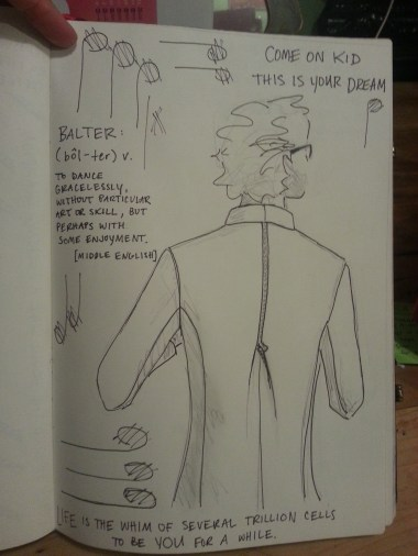 Zipper-back jacket (stylized sketch) for prospective client