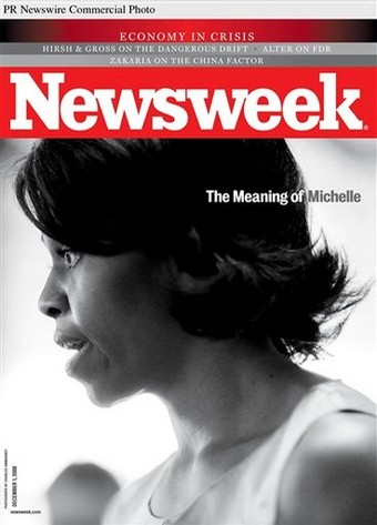 OUR FIRST BLACK FIRST LADY-BLACK SKINNED BEAUTY MICHELLE OBAMA ON NEWSWEEK DEC.2008 COVER