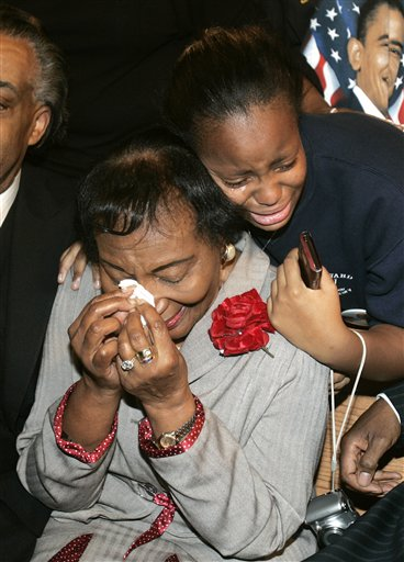 CHRISTINE KING FARRIS,SISTER OF MARTIN LUTHER KING JR. AND GRADDAUGHTER FARRIS WATKINS CRY IT OUT AFTER OBAMA'S VICTORY IN ATLANTA